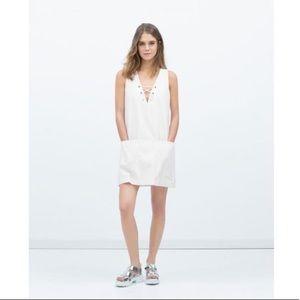 Zara TRF White Shift Dress Lace Up Neck Pockets